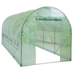 15'x7'x7' Walk In GREENHOUSE Green House Plant Shed PE Cover Arch Roof Tunnel