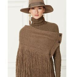 NWT Ralph Lauren Purple Label Womens Cashmere Fringed Scarf Poncho Brown Italy