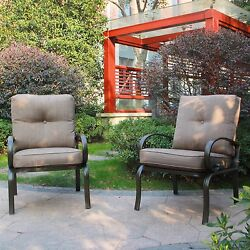 Set of 2 Outdoor Dining Chair Gray Cushions Wrought Iron Patio Seating Chair