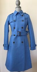 New J.Crew BELTED ICON Trench Coat Italian Wool Cashmere 0 Blue Twilight #28231