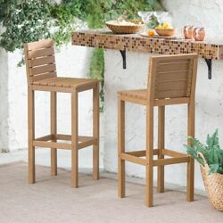 Acacia Wood Bar Height Patio Stools Set Of 2 All Weather Foot Rest Furniture New