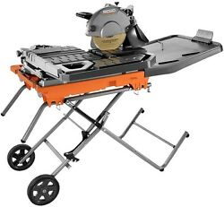 RIDGID 10 in Electric Large Wet Tile Saw with Laser Guide and Foldable Stand