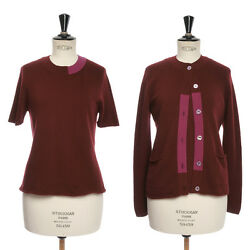 vintage CHANEL 98A maroon cashmere colorblocked knit cardigan top set FR40 US8 M