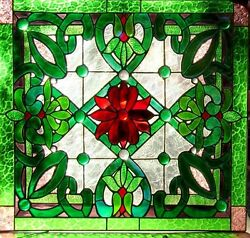 HERITAGE STAINED GLASS LEADLIGHT FRONT DOOR  WINDOW Hand Crafted RED
