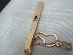 Vintage 18k Tie Bar with Rectangle Garnet and Checked finish - Button chain