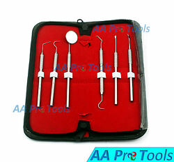 6 Pcs Dental Scaler Pick Stainless Steel Tools with Inspection Mirror SetKit $7.65