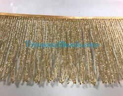 By the Yard 6quot; Glass GOLD BUGLE Seed Beaded Fringe Lamp Costume Trim $15.99