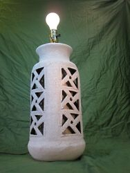Volcanic White Colored Glaze LAMP MID CENTURY MODERN CERAMIC Table Lamp $165.00