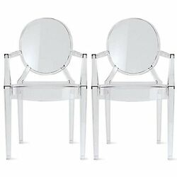 2xhome – Set of Two 2 - Clear - Modern Ghost Chair Armchair With Arm Plastic
