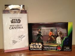 STAR WARS POWER OF THE FORCE CANTINA SHOWDOWN THREE PACK WCANTINA DIORAMA! NM!