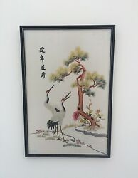 Framed Hand Embroidered Silk Of Oriental Scene With Cranes And Stream.