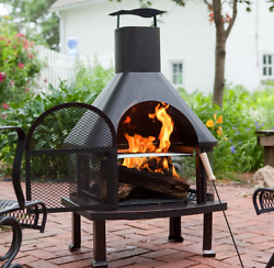Modern Outdoor Fireplace Portable Wood Burning Chiminea Garden Deck Patio Pit