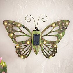 Solar Powered Metal Butterfly Wall Decor Shed Garage Fence Outdoor Home Decor