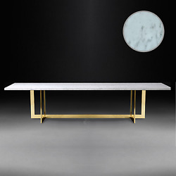 Hollywood Regency Glamour Chic Modern Marble DIning Table Gold Frame Mid Century