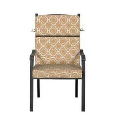 Outdoor Patio Dining Chair Cushion Seat Back Replacement Tan Beige Geometric