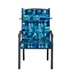 Outdoor Patio Dining Chair Cushion Seat Back Replacement Blue Mosaic