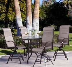 Patio Furniture Dining Set 5-Piece Dinette Table Chair High-Back All-Weather
