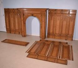 Antique French Marquetry Fireplace Surround + 13' Matching BoiserieWainscoting