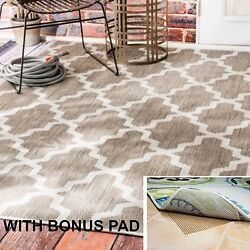 Large Indoor Outdoor Area Rugs Brown Abstract 5 x 7 Trellis Rug WITH BONUS PAD