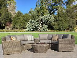Premium Outdoor Wicker Monte Carlo Curved Sectional 6PC Furniture Set