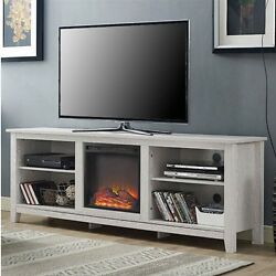 TV Stand White Wash Wood 70-inch TV Stand Fireplace Space Heater Cozy Heater