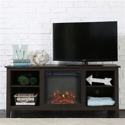 TV Stand Espresso Wood 58-inch TV Stand Electric Fireplace Space Heater