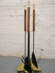 Mid Century Modern Alessandro Albrizzi Fireplace  Tool Set Brass Wood
