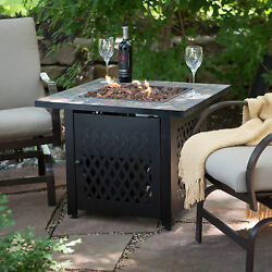 New Outdoor Fire Pit Table Propane Gas Patio Tabletop Steel Firebowl Heater Tile