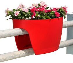 Greenbo 13.4 in. x 23.6 in. Red Plastic XL Railing and Deck Planter (2 pack)