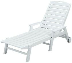 White Wheeled Patio Chaise Arm Lounge Pool Deck Outdoor Furniture Resin Folding