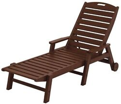 Nautical Mahogany Wheeled Patio Chaise Lounge Outdoor Pool Furniture Resin Brown