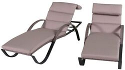 Outdoor Furniture Patio Chaise Lounge Slate Grey Cushion 2 Pack Aluminum Frame