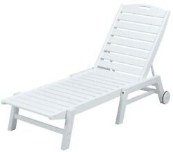 Nautical White Wheeled Armless Patio Chaise Lounge Pool Outdoor Furniture Resin