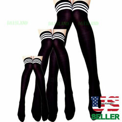 3 Long Pantyhose Plus Size Over Knee Cotton Strip Women Socks Tights Stockings $7.92