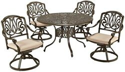 Modern 5-Piece Patio Dining Set Round Table Aluminum Outdoor Furniture Brown