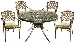 Patio Dining Set 5-Piece Round w Fully Welded Chairs & Cushion Aluminum Bronze