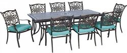 9-Piece Outdoor Patio Dining Set with Ocean Blue Cushions Aluminum Furniture