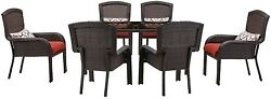 7-Piece All-Weather Wicker Rectangular Patio Dining Set w Red Cushion Furniture