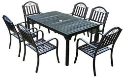 Modern 7-Piece Patio Dining Set Cast Iron All Weather Outdoor Furniture Bronze