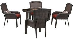 5-Piece All-Weather Wicker Round Patio Dining Set w Red Cushion Furniture Brown