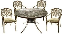5 Piece Round Dining Set w Fully Welded Chairs & Cushion Patio Furniture Bronze
