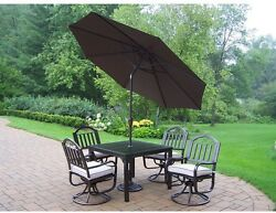 5 Piece Swivel Patio Dining Set w Cushions & Brown Umbrella Outdoor Furniture
