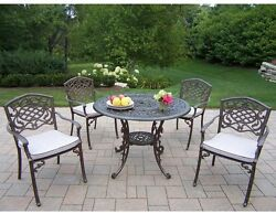 5-Piece Patio Dining Set with Fully Welded Chairs & Cushion Outdoor Furniture