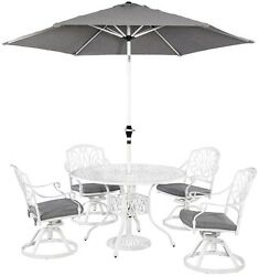 Weather Resistant Floral Blossom 5-Piece Patio Dining Set w Umbrella Furniture