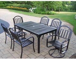 7-Piece Patio Dining Set with 2 Swivel Chairs Cast Iron Outdoor Furniture Bronze