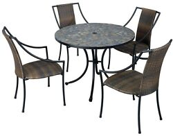 5-Piece Round Patio Dining Set Steel with Taupe Cushions Outdoor Decor Furniture