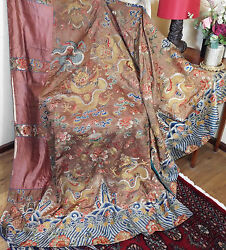 Antique Chinese Embroidered Brown Silk Daoist Priest Ceremonial  Dragon Robe