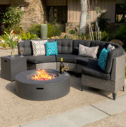 Outdoor Sofa Set Half Round Sectional with Gas Fire Table 6-piece Wicker Seats 4