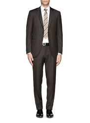 $1995 Canali 42R 36x30 Brown Striped Wool And Silk Blend Used Men's Suit M3758