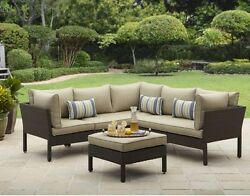 Outdoor Sectional and Table All Weather Patio Furniture Seating Deck Garden Sofa